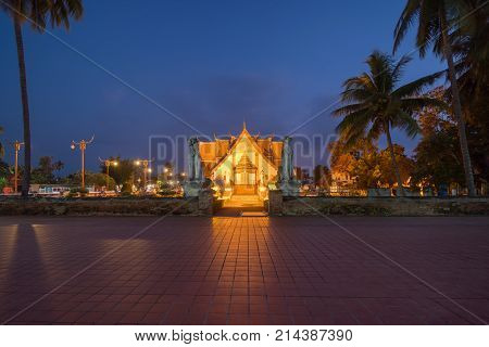 Night Scene Of Wat Phumin Temple At Nan Province, Thailand.