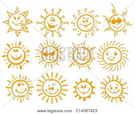 Doodle sun. Yellow cute scribble happy suns vector smile funny spring sun icons on white