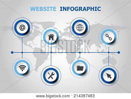 Infographic design with website icons, stock vector