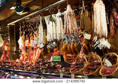 Barcelona, Catalonia, Spain - May 14, 2012 : Delicatessen meat in la Boqueria covered market