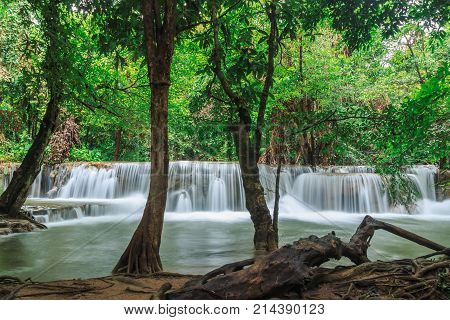 Beautiful Huai Mae Khamin waterfall in the rainy season Kanchanaburi Province Thailand.