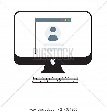 Login form on desctop pc illustration. Flat design. Trendy login or authorization screen with human icon. Member settings frame or employee profile