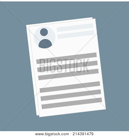 Trendy flat illustration of profile or social page or newspaper article. uman dossier or file