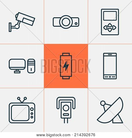 Hardware Icons Set With Presentation, Player, Personal Computer And Other Personal Computer Elements. Isolated Vector Illustration Hardware Icons.