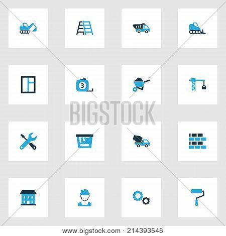 Architecture Colorful Icons Set With Dozer, Paint Roller, Glass And Other Barrow Elements. Isolated Vector Illustration Architecture Icons.