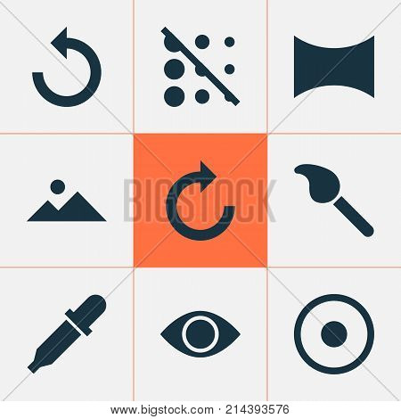 Picture Icons Set With Pipette, Dartboard, Reload And Other Pipette Elements. Isolated Vector Illustration Picture Icons.