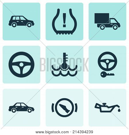 Automobile Icons Set With Automobile, Lorry, Steering And Other Steering Elements. Isolated Vector Illustration Automobile Icons.