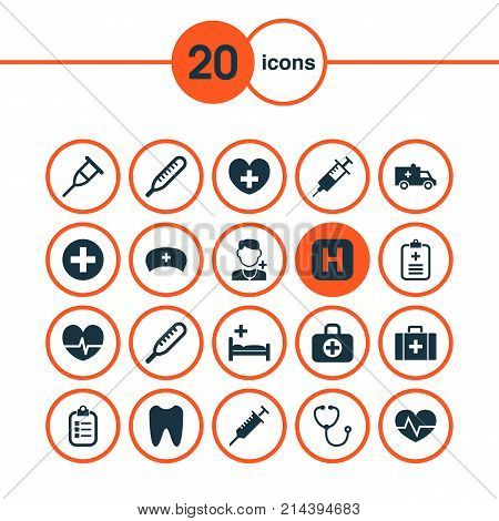 Medicine Icons Set With Cap, Ache, Injection And Other Peck Elements. Isolated Vector Illustration Medicine Icons.