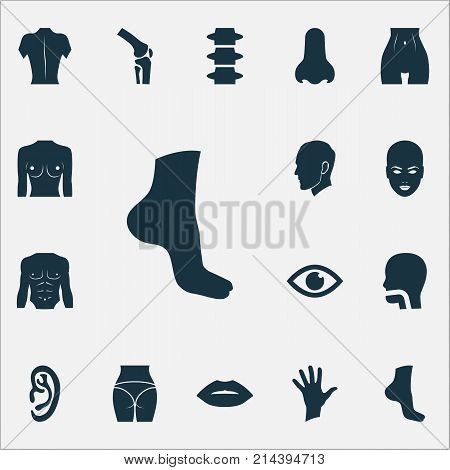 Body Icons Set With Listen, Body, Breath And Other Mouth Elements. Isolated Vector Illustration Body Icons.