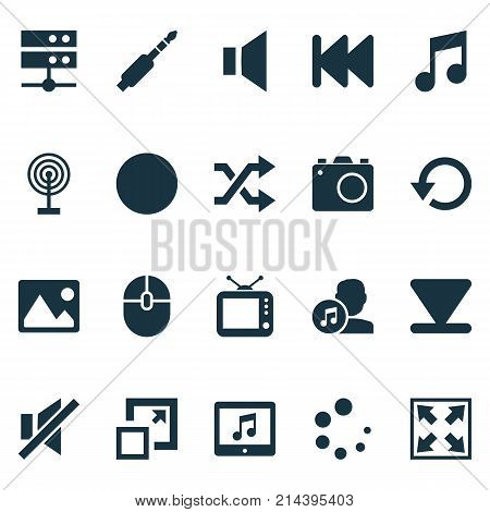Music Icons Set With Mute, Musical Note, Cast And Other Musical Note Elements. Isolated Vector Illustration Music Icons.