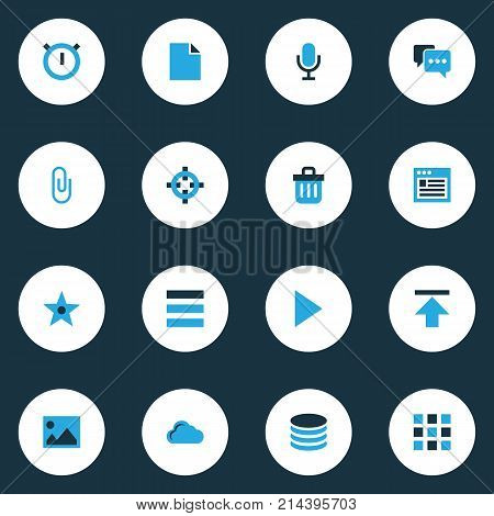 Interface Colorful Icons Set With Folder, Clip, Second Meter And Other Schedule Elements. Isolated Vector Illustration Interface Icons.