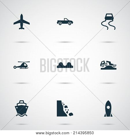 Shipment Icons Set With Cabriolet, Tanker, Spaceship And Other Uneven Way Elements. Isolated Vector Illustration Shipment Icons.