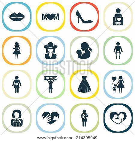 Mothers Day Icon Design Concept. Set Of 16 Such Elements As Mother, Child And Mouth. Beautiful Symbols For Child, Hand And Gown.