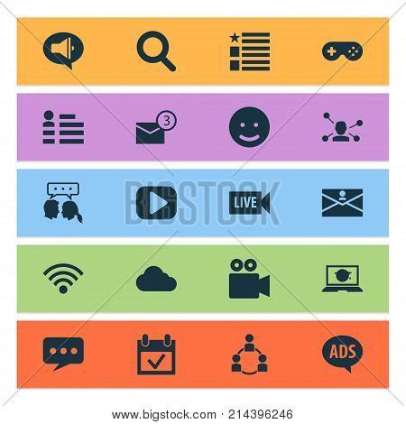 Internet Icons Set With Overcast, Contact, Advertising And Other Laptop Elements. Isolated Vector Illustration Internet Icons.
