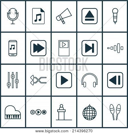 Multimedia Icons Set With Beat Instrument, Stabilizer, Dance Club And Other Bullhorn Elements. Isolated Vector Illustration Multimedia Icons.