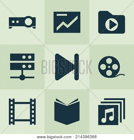 Multimedia Icons Set With Film, Filmstrip, Datacenter And Other Film Elements. Isolated Vector Illustration Multimedia Icons.