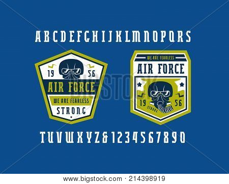 Narrow serif font and air force emblems. Letters and numbers for logo and t-shirt design. Print on blue background