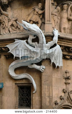 Dragon On The Side Of City Hall In Munich, Germany