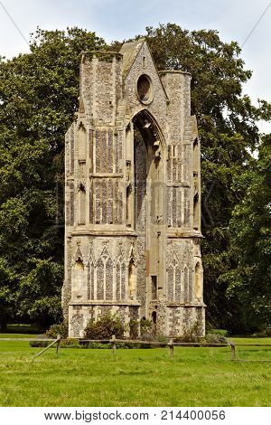 The massive East Window of the priory in Walsingham Abbey ruins, Norfolk, England