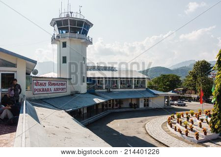 POKHARA, NEPAL - CIRCA NOVEMBER 2017: Pokhara airport and its air traffic control tower.