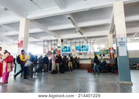 POKHARA, NEPAL - CIRCA NOVEMBER 2017: People are queuing to check in at Pokhara airport.