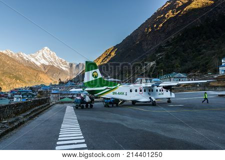 KATHMANDU, NEPAL - CIRCA JANUARY 2017: Tenzing–Hillary Airport, also known as Lukla Airport is said to be one of the most dangerous airport in the world.