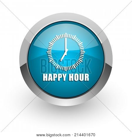 Happy hour blue silver metallic chrome border web and mobile phone icon on white background with shadow