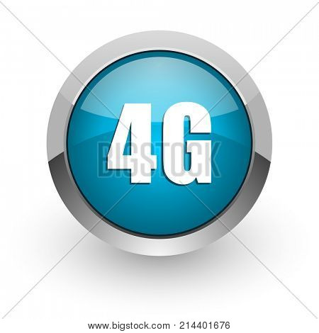 4g blue silver metallic chrome border web and mobile phone icon on white background with shadow