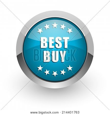 Best buy blue silver metallic chrome border web and mobile phone icon on white background with shadow