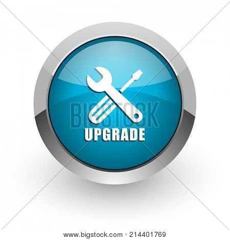 Upgrade blue silver metallic chrome border web and mobile phone icon on white background with shadow