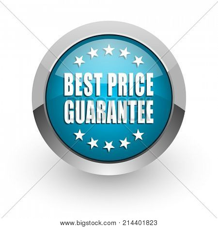 Best price guarantee blue silver metallic chrome border web and mobile phone icon on white background with shadow