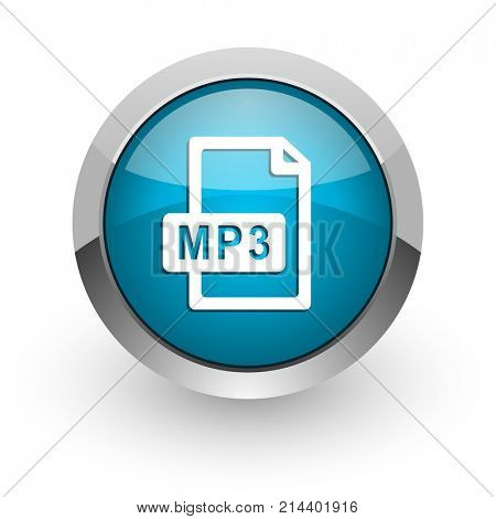 Mp3 file blue silver metallic chrome border web and mobile phone icon on white background with shadow