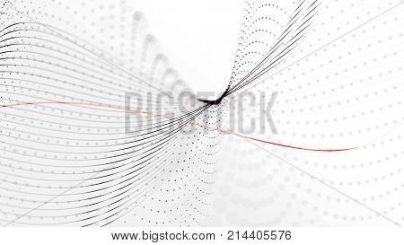 Elegant blend lines - black on white. Abstract technology, business and office stylish background. Depth of field settings. 3D rendering.