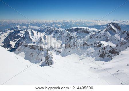Winter in the swiss alps near mount Santis, Switzerland