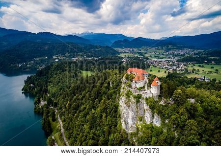 Slovenia - Aerial view resort Lake Bled. Aerial FPV drone photography. Slovenia Beautiful Nature Castle Bled.