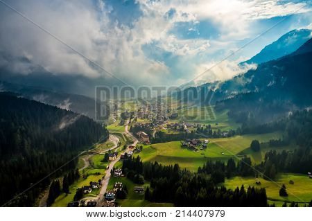 Sappada Italy North-Eastern corner of the Dolomites Alps. Aerial FPV drone flights. poster