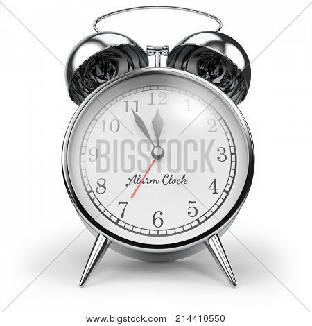 Chrome Retro Alarm Table Clock Isolated on White Background. 3D Illustration. Classic Alarm-Clock front view.