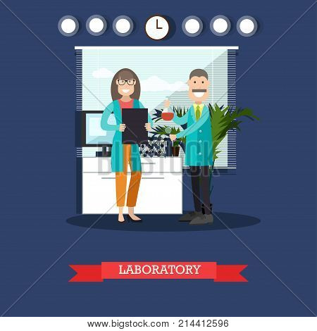 Vector illustration of scientists man and woman working at science lab. Chemical laboratory interior, equipment and lab glassware. Laboratory concept flat style design element.
