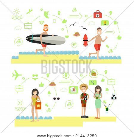 Vector illustration of vacationers taking rest on the beach. Summer people symbols, icons isolated on white background. Flat style design.