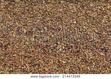 Tea herbs texture. Green tea. Organic dried green tea leaves. Photo.