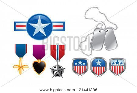 American pins, military medals, and dog tags