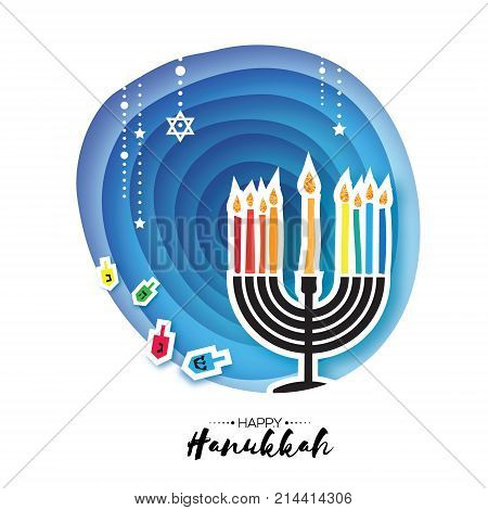 Origami Happy Hanukkah. Greeting card for the Jewish holiday. Menorah traditional candelabra and burning candles Hanukkah dreidel with letters of the Hebrew alphabet. Star of David. Paper cut style. Vector