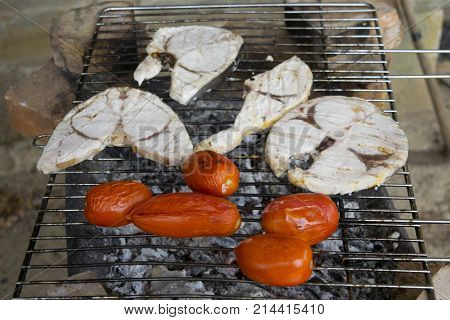 swordfish fillets and fresh tomatoes cooked on the ember