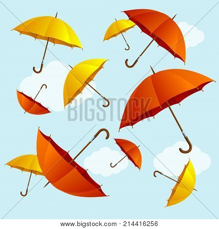 Umbrellas Fall Red and Yellow on Blue Sky Background Flat Design Style. Vector illustration of Falling Open Umbrella