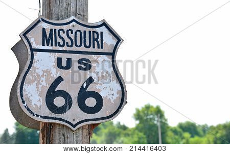 Historic Route 66 Sign In Missouri.