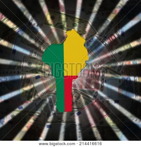 Benin map flag on currency burst 3d illustration