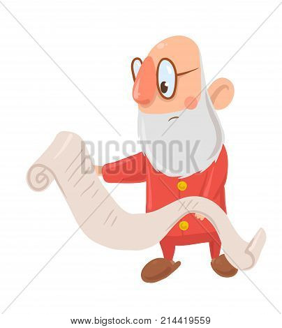 Funny puzzled Santa Claus in glasses reads long list of wishes on white background. Santa looks surprised, bewildered and confused. Merry Christmas. Isolated vector illustration. Cartoon character.