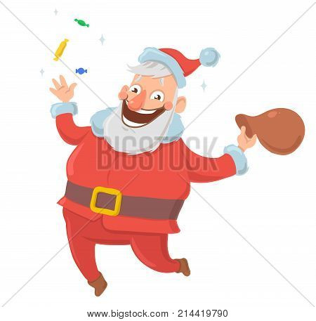 Happy smiling Santa Claus throws candies in the air and jumps for joy with bag of presents on white background. Merry Chtistmas, Happy New Year. Isolated vector illustration. Cartoon character.