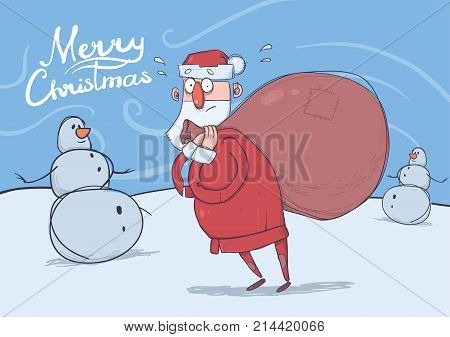 Christmas card of funny confused Santa Claus with big bag standing next to snowmen in windy weather. Santa looks lost. Horizontal vector illustration. Cartoon character. Lettering. Copy space.