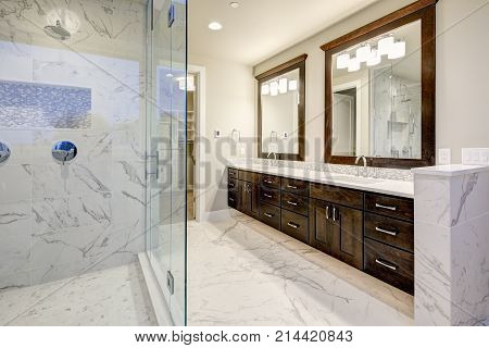 Master Bathroom Interior With Double Vanity Cabinet